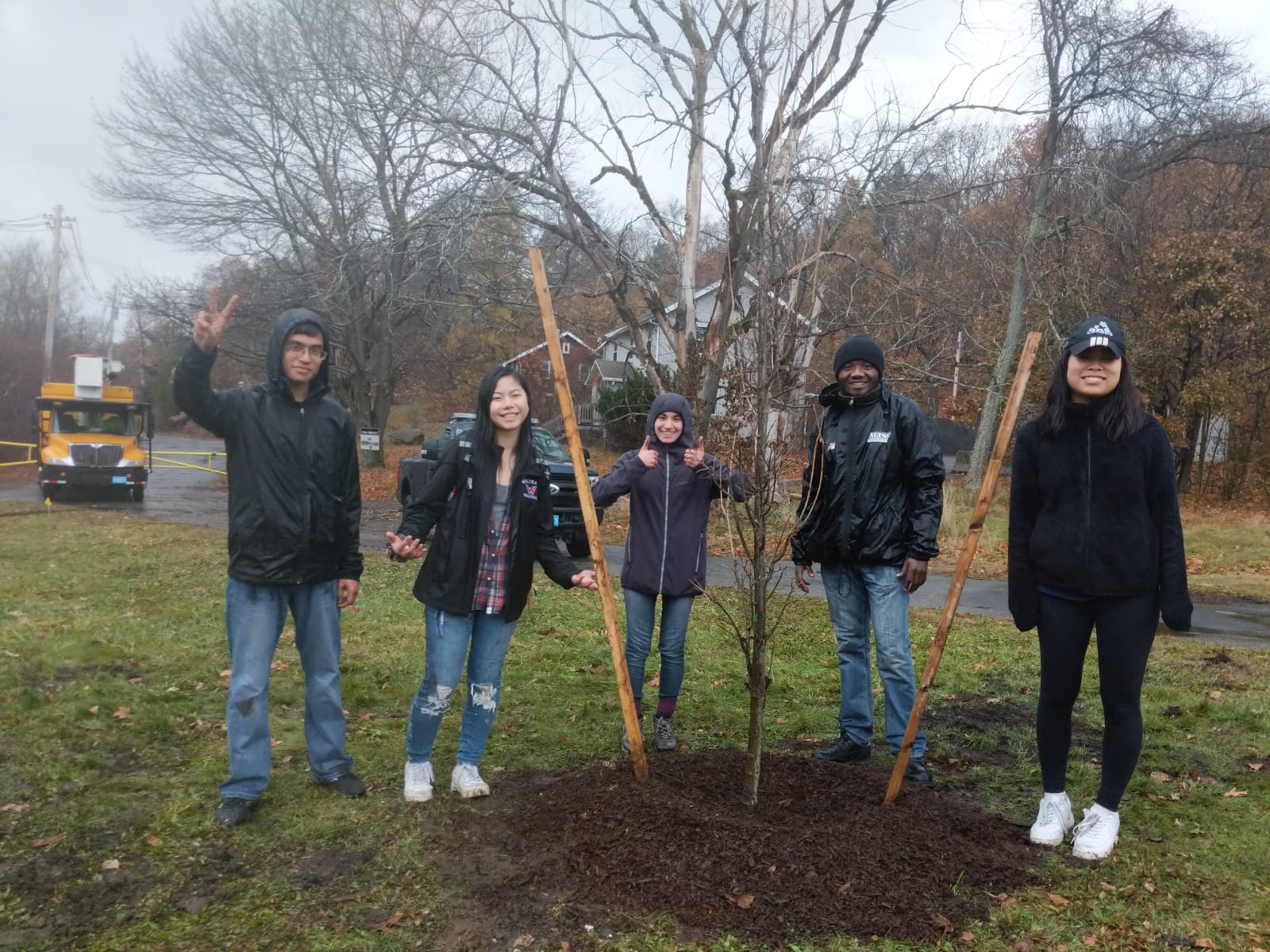 Prince and friends planting trees in Waltham